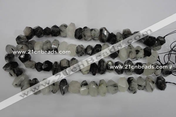 CNG2716 10*14mm - 13*18mm faceted nuggets black rutilated quartz beads