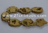 CNG2819 15.5 inches 30*40mm - 40*50mm freeform plated druzy agate beads