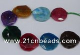 CNG2963 15.5 inches 42*45mm - 45*50mm faceted freeform agate beads