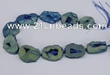 CNG3092 15.5 inches 25*30mm - 35*50mm freeform plated druzy agate beads