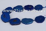CNG3103 15.5 inches 25*30mm - 35*50mm freeform plated druzy agate beads