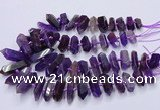 CNG3202 15.5 inches 10*25mm - 12*45mm faceted nuggets amethyst beads