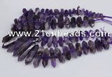 CNG3218 15.5 inches 10*25mm - 12*50mm faceted nuggets amethyst beads