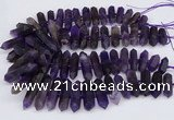 CNG3219 15.5 inches 10*25mm - 12*50mm faceted nuggets matte amethyst beads