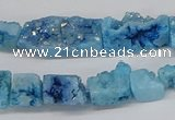 CNG3253 15.5 inches 8*15mm - 11*20mm freeform plated druzy agate beads