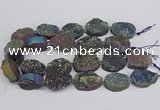 CNG3276 22*30mm - 30*40mm freeform plated druzy agate beads