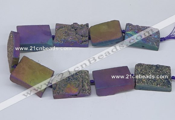 CNG3478 15.5 inches 30*40mm freeform plated druzy agate beads