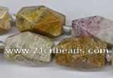 CNG3521 15.5 inches 15*25mm faceted nuggets fossil coral beads