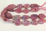 CNG3621 20*35mm - 30*45mm freeform plated druzy agate beads