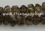 CNG5028 15.5 inches 6*9mm - 10*15mm faceted nuggets smoky quartz beads