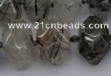 CNG5224 13*18mm - 15*25mm faceted nuggets black rutilated quartz beads