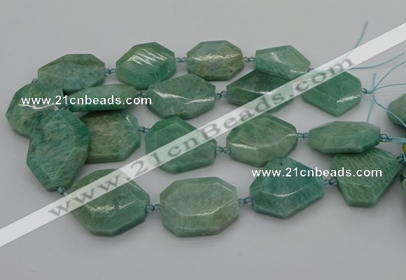 CNG5353 15.5 inches 20*30mm - 35*45mm faceted freeform amazonite beads