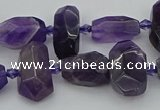 CNG5370 15.5 inches 10*15mm - 15*25mm faceted nuggets amethyst beads