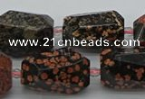 CNG5416 12*16mm - 15*25mm faceted nuggets red snowflake obsidian beads