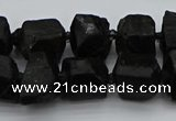 CNG5458 15.5 inches 8*12mm - 12*16mm nuggets black tourmaline beads