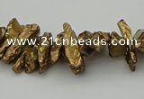 CNG5463 15.5 inches 6*10mm - 8*20mm nuggets plated quartz beads