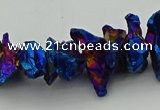 CNG5468 15.5 inches 6*10mm - 8*20mm nuggets plated quartz beads