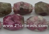 CNG5523 12*16mm - 15*25mm faceted nuggets pink tourmaline beads