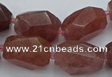 CNG5585 12*16mm - 15*25mm faceted nuggets strawberry quartz beads