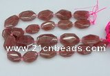 CNG5594 20*25mm - 25*35mm faceted freeform strawberry quartz beads
