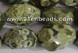CNG560 15.5 inches 14*20mm faceted nuggets rhyolite gemstone beads