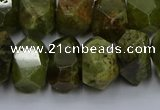 CNG5625 15.5 inches 10*14mm - 13*18mm faceted nuggets green garnet beads