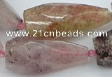 CNG5632 15*35mm - 18*45mm faceted teardrop strawberry quartz beads