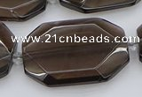 CNG5736 20*30mm - 35*45mm faceted freeform ice black obsidian beads