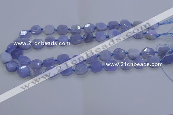CNG5775 10*12mm - 10*14mm faceted freeform blue lace agate beads