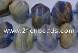 CNG5797 12*16mm - 13*18mm faceted nuggets blue calcite beads