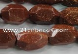 CNG581 15.5 inches 13*22mm faceted nuggets goldstone beads