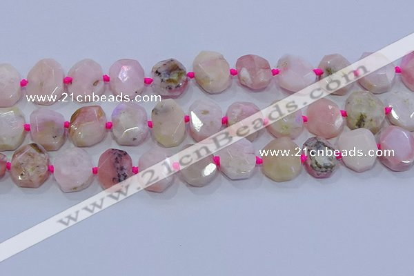 CNG5885 15.5 inches 10*14mm - 12*16mm faceted freeform pink opal beads