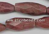 CNG592 13*30mm - 15*40mm faceted rice rhodochrosite nugget beads
