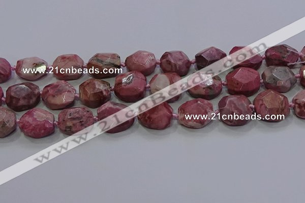 CNG5934 10*14mm - 12*16mm faceted freeform rhodochrosite beads