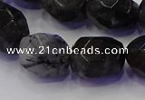 CNG5963 13*18mm - 15*20mm faceted nuggets black rutilated quartz beads