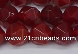 CNG6024 15.5 inches 12mm faceted nuggets red agate beads