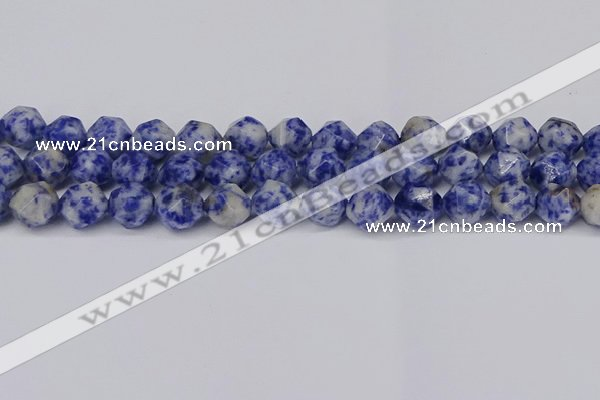 CNG6031 15.5 inches 12mm faceted nuggets blue spot stone beads