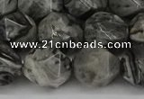 CNG6054 15.5 inches 12mm faceted nuggets grey picture jasper beads