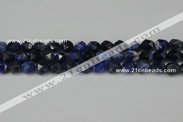 CNG6104 15.5 inches 8mm faceted nuggets sodalite gemstone beads
