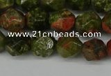 CNG6105 15.5 inches 8mm faceted nuggets unakite gemstone beads