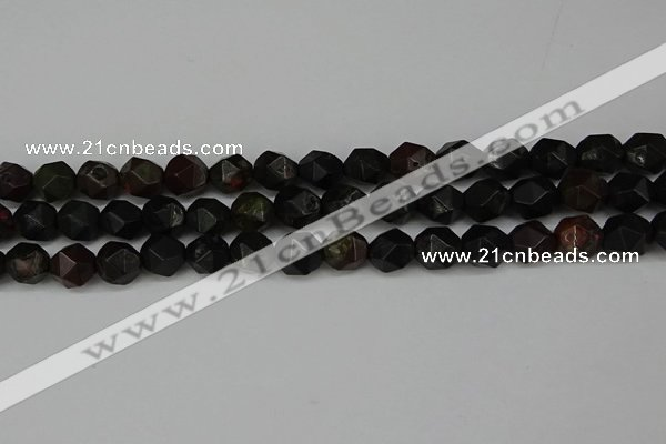 CNG6118 15.5 inches 8mm faceted nuggets plum blossom jade beads