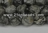 CNG6127 15.5 inches 8mm faceted nuggets grey picture jasper beads