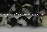 CNG6128 15.5 inches 8mm faceted nuggets black & white jasper beads