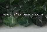 CNG6154 15.5 inches 10mm faceted nuggets moss agate beads