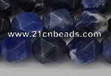 CNG6179 15.5 inches 10mm faceted nuggets sodalite gemstone beads