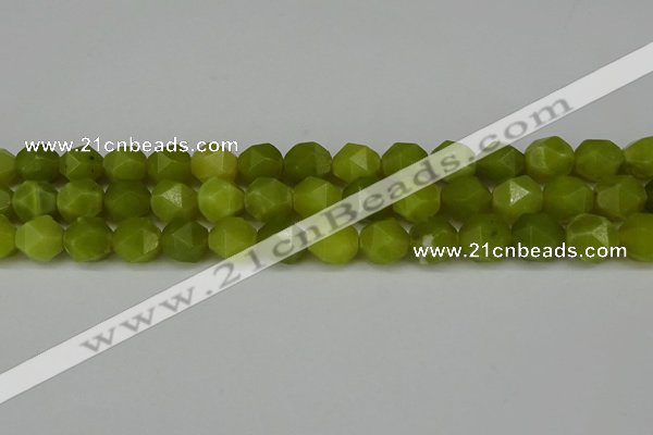 CNG6190 15.5 inches 10mm faceted nuggets lemon jade beads