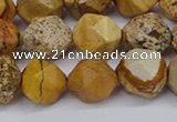 CNG6201 15.5 inches 10mm faceted nuggets picture jasper beads