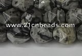 CNG6202 15.5 inches 10mm faceted nuggets grey picture jasper beads