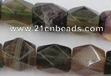 CNG650 15.5 inches 13*18mm faceted nuggets rainbow fluorite beads