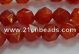 CNG6505 15.5 inches 8mm faceted nuggets red agate beads